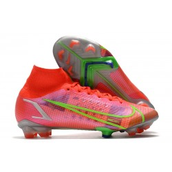 Nike Mercurial Superfly 8 Elite FG Cleats Bright Crimson Metallic Silver