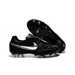 Nike Tiempo Legend V FG Kangaroo Leather Soccer Cleats Black Silver