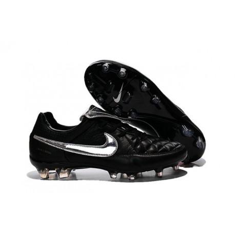 Nike Tiempo Legend V FG Kangaroo Leather Soccer Cleats Black Silver