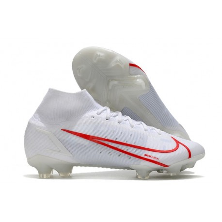 Nike Mercurial Superfly 8 Elite FG Cleats White Red
