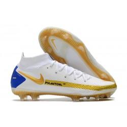 Nike Phantom GT Elite Dynamic Fit FG Boots White Golden Blue