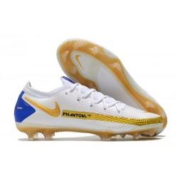 Nike Phantom GT Elite FG Cleat White Golden Blue