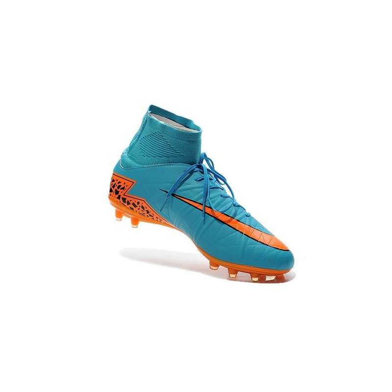 new arrival d94b3 4586e Nike Hypervenom Phantom II FG Firm Ground Soccer Cleats Blue Orange Black