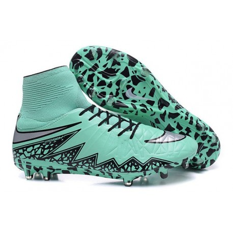 Nike Hypervenom Phantom II FG Firm Ground Soccer Cleats Green Silver Black