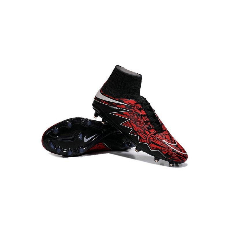 New Robert Lewandowski Nike Hypervenom Phantom 2 FG Football Boots Black Red