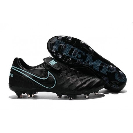 Nike Tiempo Legend 6 ACC FG Kangaroo Leather Cleats Black Blue