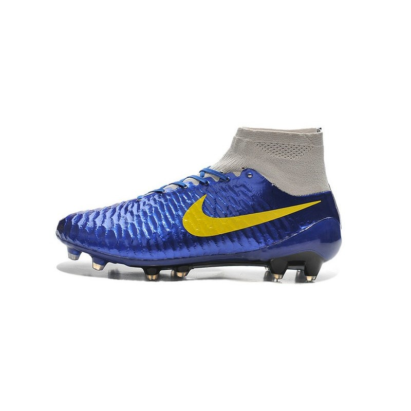 big sale 47b88 812e9 Nike High Top Magista Obra FG ACC Soccer Cleats Blue Yellow Grey