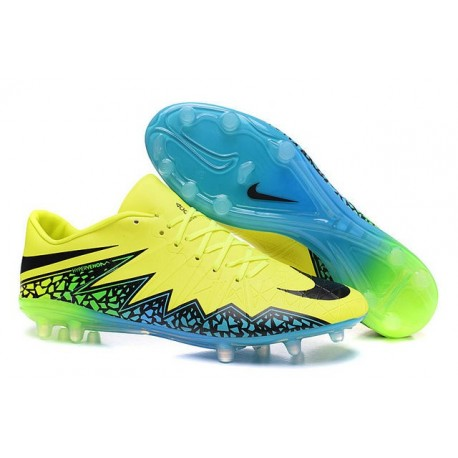 Neymar Nike Hypervenom Phinish FG Firm Ground Soccer Cleats Volt Black Turquoise