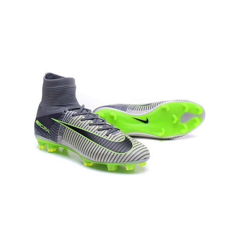 553a65ba5089 Cristiano Ronaldo New Nike Mercurial Superfly V FG Boots in Grey Black