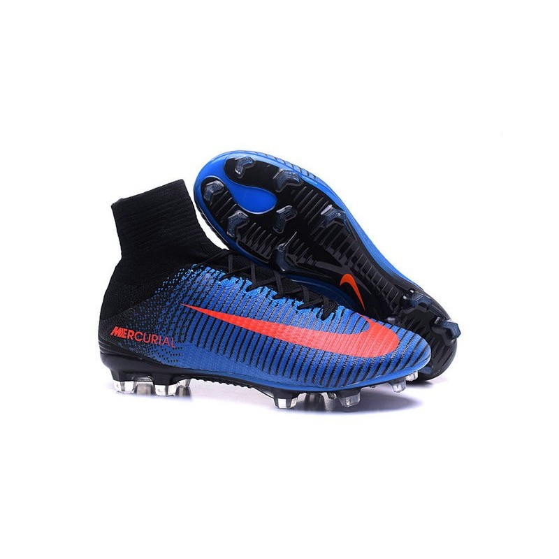d4c43dc6e08a3 Cristiano Ronaldo New Nike Mercurial Superfly V FG Boots Blue Orange Black