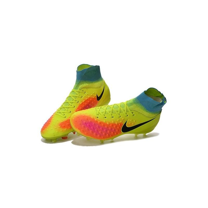 01c1b475a077 Nike Magista Obra 2 FG High Top Football Cleat Volt Orange Black