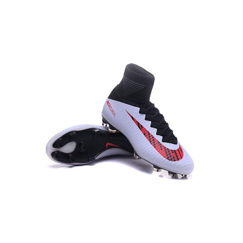cb4635f9453 New High-Top Nike Mercurial Superfly V FG Boots White Red