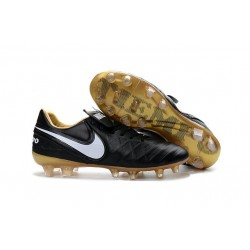 Nike Tiempo Legend 6 ACC FG Kangaroo Leather Cleats Black White Gold