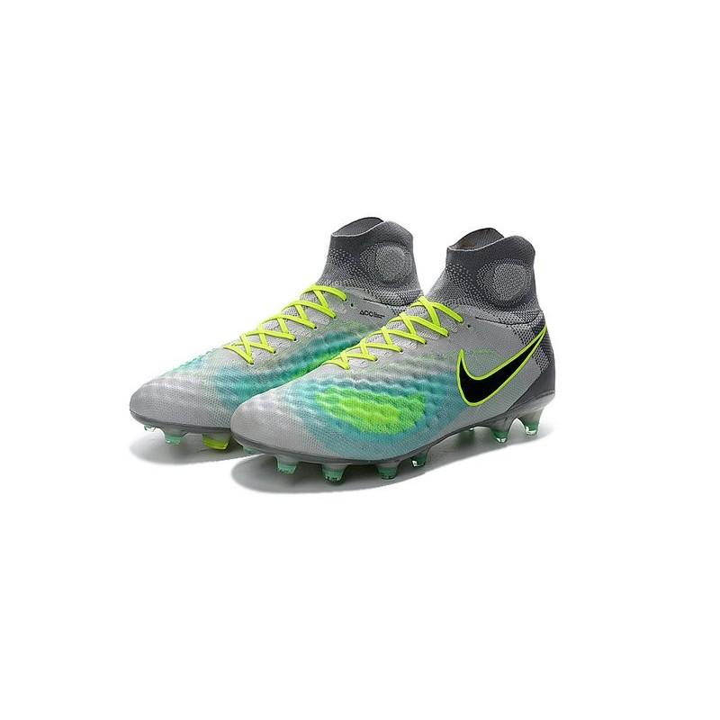 tout neuf fa7d5 ef26e Nike Magista Obra 2 FG High Top Football Cleat Grey Black Blue