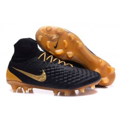 Nike Magista Obra 2 FG High Top Football Cleat Black Gold