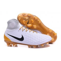 Nike Magista Obra 2 FG High Top Football Cleat White Gold Black