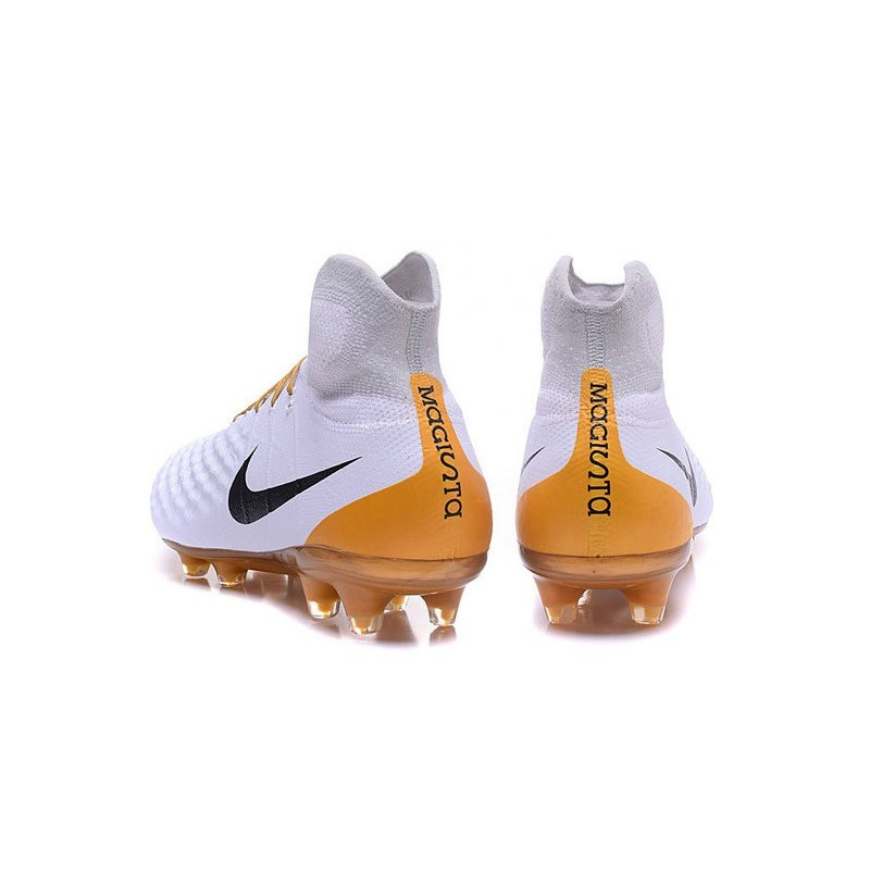 98803f9798dd Nike Magista Obra 2 FG High Top Football Cleat White Gold Black