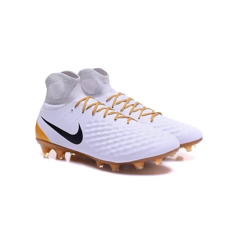 Nike Magista Obra 2 Fg High Top Football Cleat White Gold