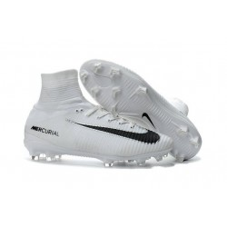 Nike Mercurial Superfly V FG Firm Ground Soccer Shoes White Black