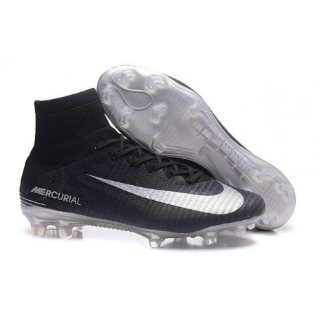 Nike Mercurial Superfly V FG Firm Ground Soccer Shoes Black Silver