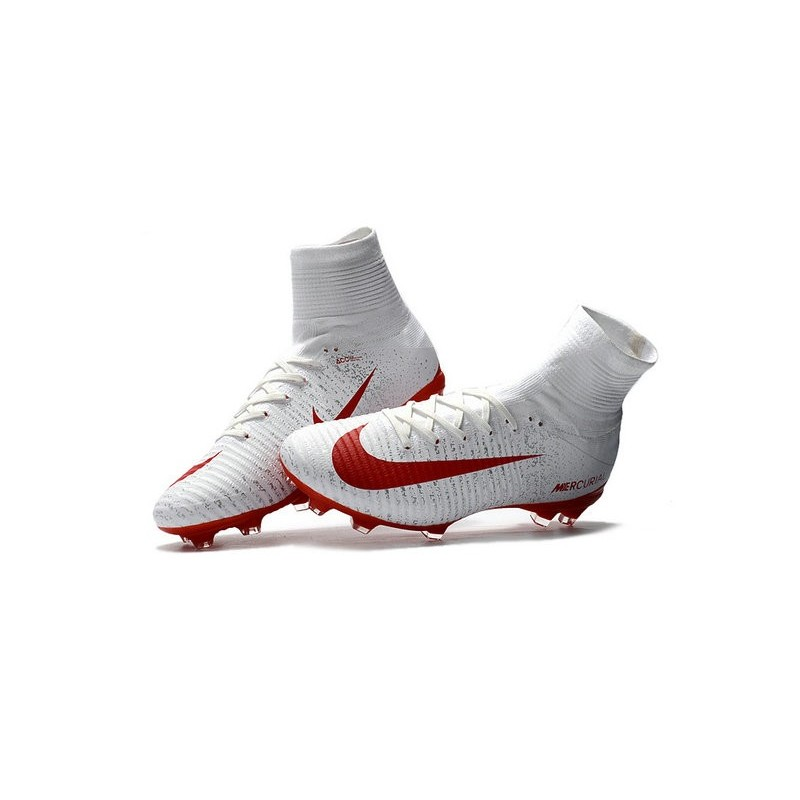 56e6ea237 Nike Mercurial Superfly V FG Firm Ground Soccer Shoes White Red