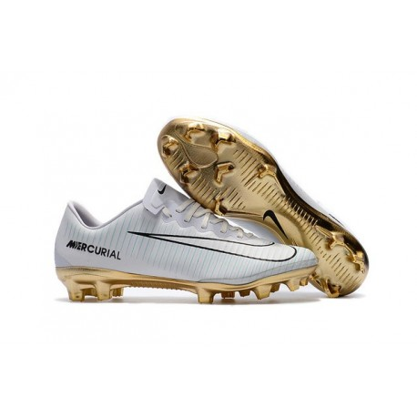 Nike Mercurial Vapor Vitórias 11 CR7 FG Firm Ground Soccer Shoes White Gold 3aa88a1f37de