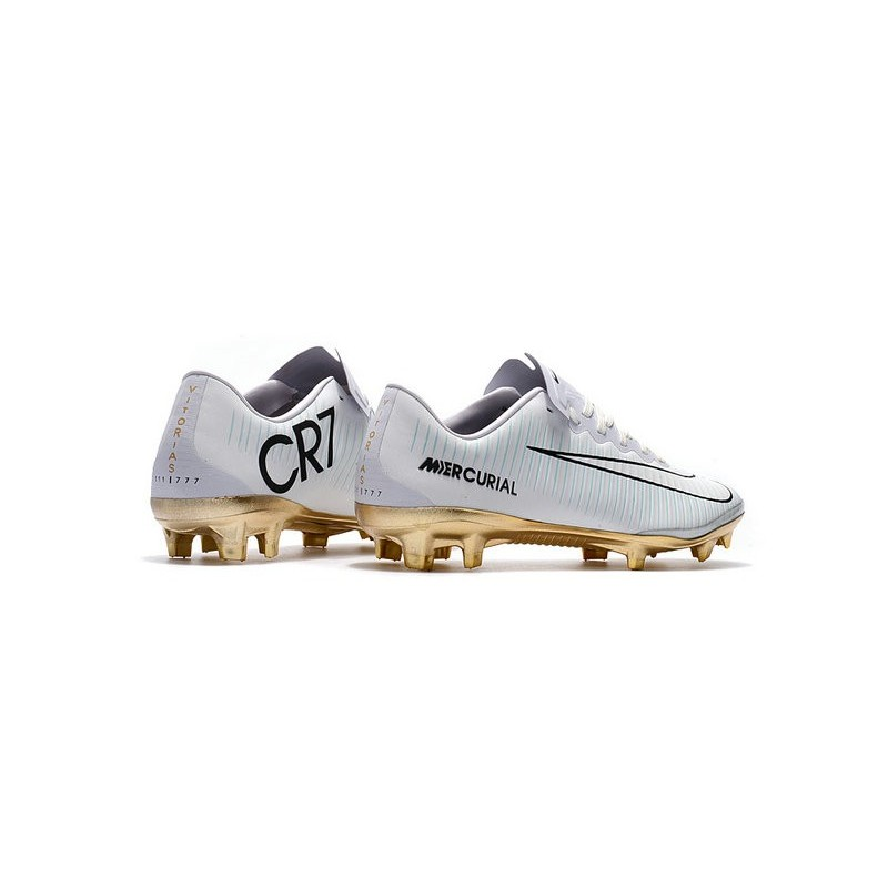 7074a1051 Nike Mercurial Vapor Vitórias 11 CR7 FG Firm Ground Soccer Shoes White Gold  Maximize. Previous. Next