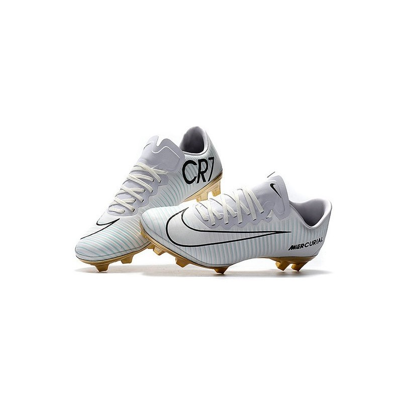 dcdc9088c3c Nike Mercurial Vapor Vitórias 11 CR7 FG Firm Ground Soccer Shoes White Gold