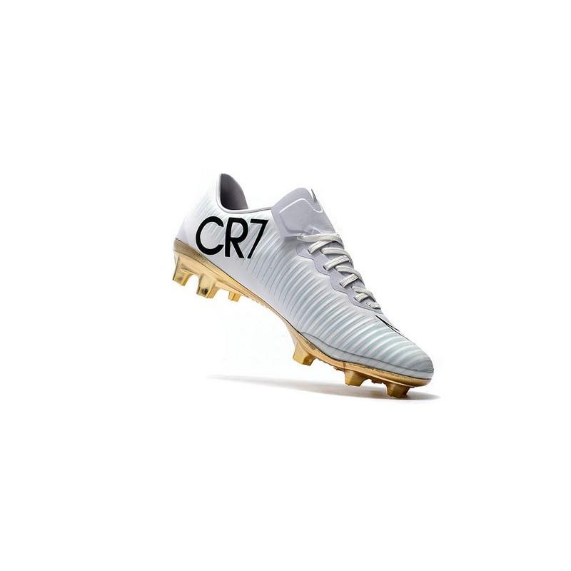 fbfe5326de0 Nike Mercurial Vapor Vitórias 11 CR7 FG Firm Ground Soccer Shoes White Gold  Maximize. Previous. Next
