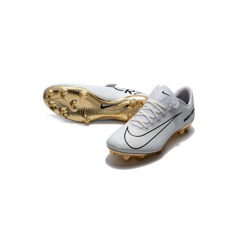 fdaed90d3678 Nike Mercurial Vapor Vitórias 11 CR7 FG Firm Ground Soccer Shoes White Gold