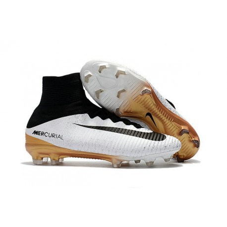 cheap for discount d7453 16b6d News Nike Mercurial Superfly V FG Boots White Gold Black