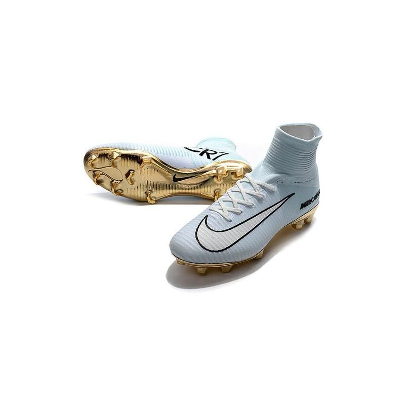 19ec43e70 Nike Mercurial Superfly V CR7 Vitórias FG Top Soccer Shoes White Golden