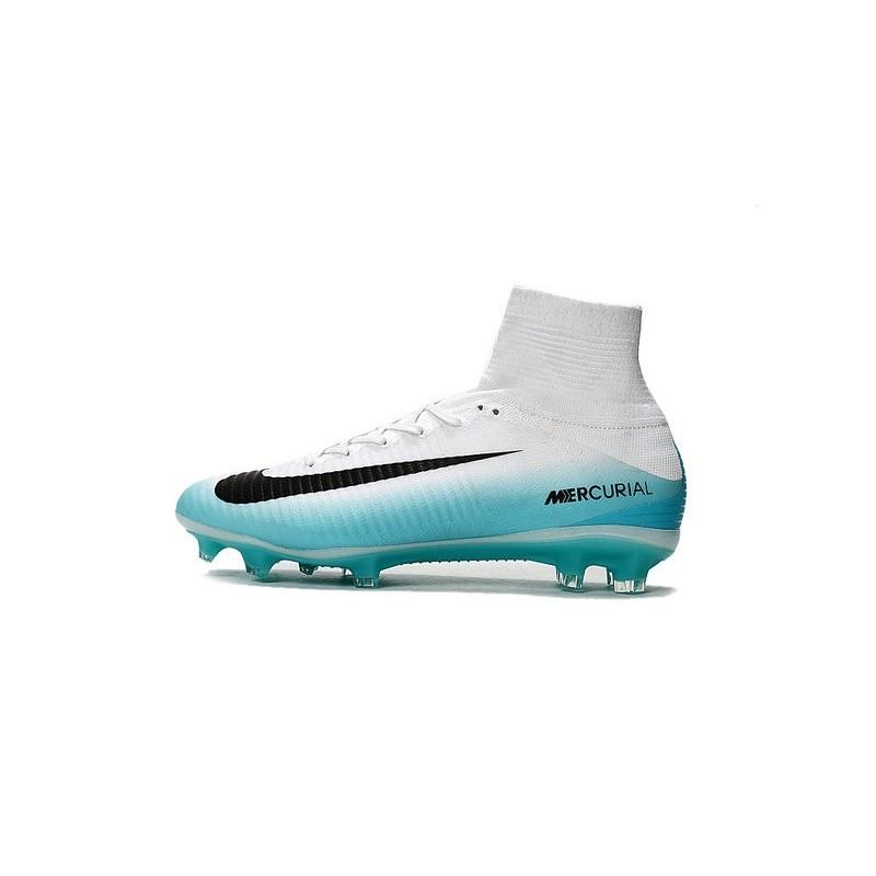 Nike Mercurial Superfly V FG Top Soccer Shoes White Blue Black Maximize.  Previous. Next f3033188310b9
