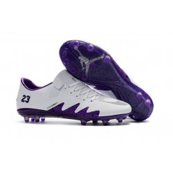 Neymar Jordan Nike Hypervenom Phinish FG Firm Ground Soccer Cleats White Purple