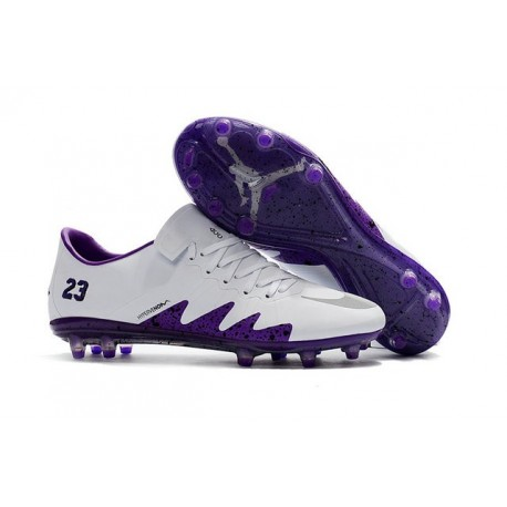 Neymar Jordan Nike Hypervenom Phinish FG Firm Ground Soccer Cleats White Purple