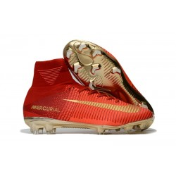 Nike Mercurial Superfly 5 FG 2017 New Firm Ground Boot - Red Golden CR7