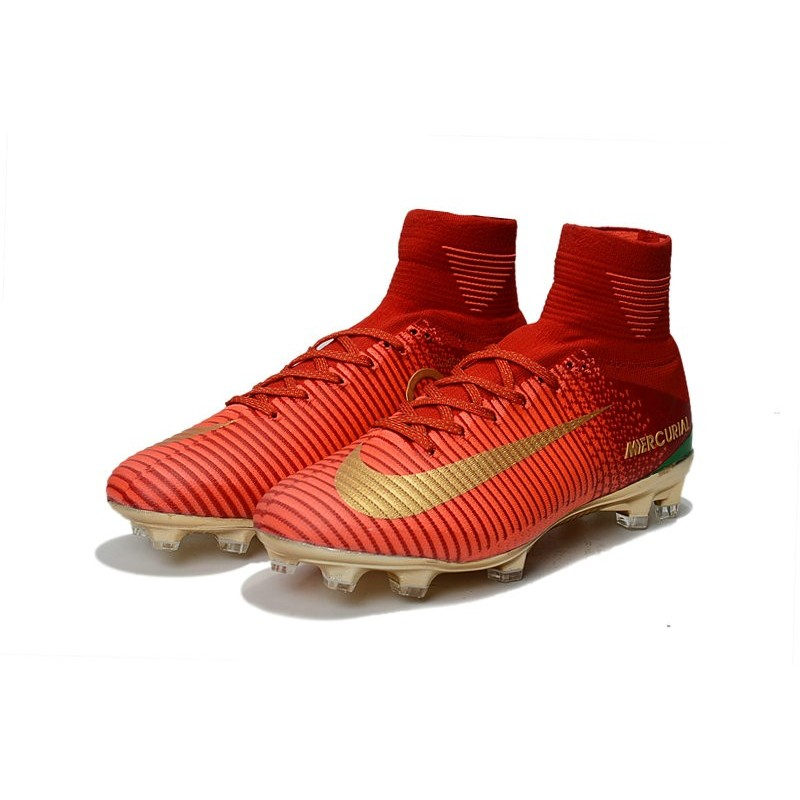 big sale cf8d9 e260a ... purchase nike mercurial superfly 5 fg 2017 new firm ground boot red  golden cr7 c4e2e d01a0