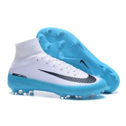 Nike Mercurial Superfly V FG Mens Soccer Cleat - White Blue Black