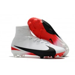 Nike Mercurial Superfly V FG Mens Soccer Cleat - White Black Red