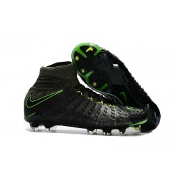 New Flyknit Nike Hypervenom Phantom 3 DF FG Soccer Boot - Black Green