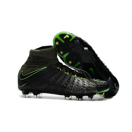 30de81dda45 New Flyknit Nike Hypervenom Phantom 3 DF FG Soccer Boot - Black Green