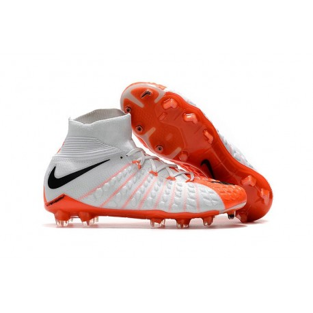 New Flyknit Nike Hypervenom Phantom 3 DF FG Soccer Boot - White Orange