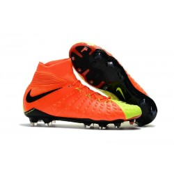 New Flyknit Nike Hypervenom Phantom 3 DF FG Soccer Boot - Orange Yellow
