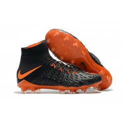 New Flyknit Nike Hypervenom Phantom 3 DF FG Soccer Boot - Black Orange