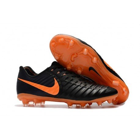 Nike Tiempo Legend VII FG K-leather Soccer Cleats Black Orange