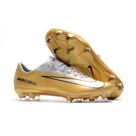 Nike Mercurial Vapor 11 FG Men Football Cleats - Golden White