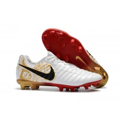 Nike Tiempo Legend VII FG K-leather Soccer Cleats White Golden