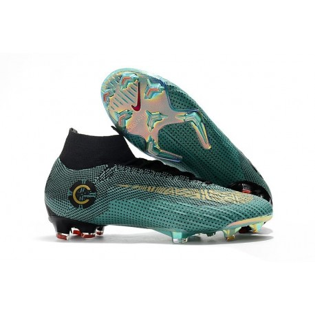 3243773c0448 Ronaldo Nike Mercurial Superfly 6 Elite CR7 FG Soccer Cleats Jade Gold Black