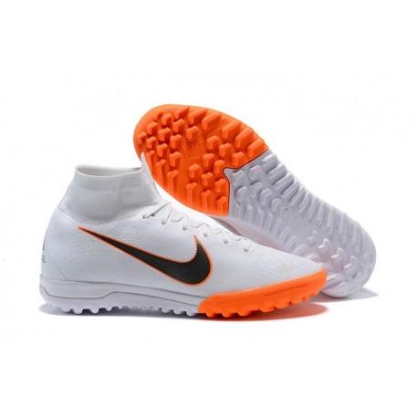 Nike Mercurial Superfly VI Elite TF Football Boot - White Orange Black