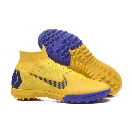 Nike Mercurial Superfly VI Elite TF Football Boot - Yellow Blue